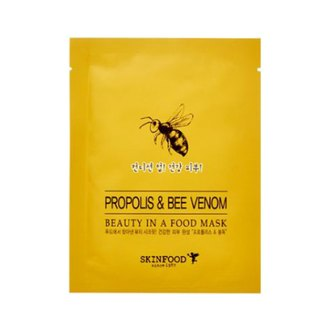 Фото Листовая маска для лица с экстрактом прополиса SkinFood Beauty Food Mask Sheet Propolis&Apitoxi
